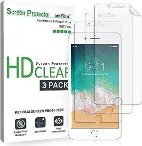 amFilm iPhone 8 Plus, 7 Plus Screen Protector, iPhone 8 Plus, 7 Plus Screen Protector HD Clear for iPhone 8 Plus, 7 Plus 5.5 inch 2015 2016 (3-Pack)