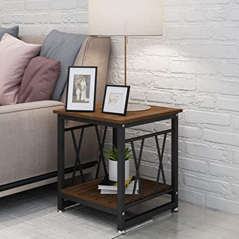 End Table 17 7 Inch Nightstand With Wood Look Modern Metal Frame Side Tables With Additional Bottom Shelf To Hold Storage Baskets Picture Magazines Lamp Decor In Living Room Bedroom Kitchen Dining