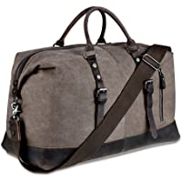 BLUBOON Borsone da Viaggio per Sport di tela e pelle Borsa Weekend Bag Uomo/Donna Vintage