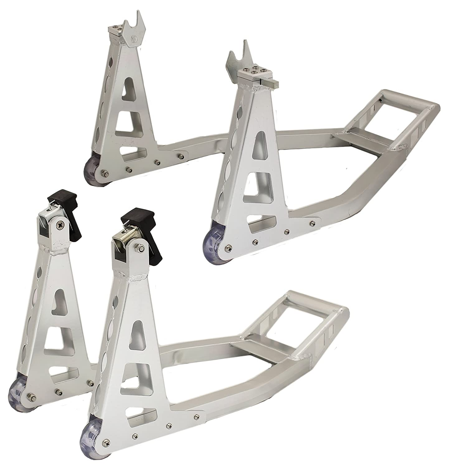 Ryde Aluminium Motorcycle Front & Rear Paddock Stands - Silver