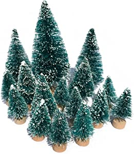 Mini Snow Globe Christmas Trees Tabletop Fake Bottle Brush Pine Trees Decor Craft Christmas Village Flocked Trees Party Decoration DIY Accessories Up to 4-7/8'' Bluish Green 16PCS