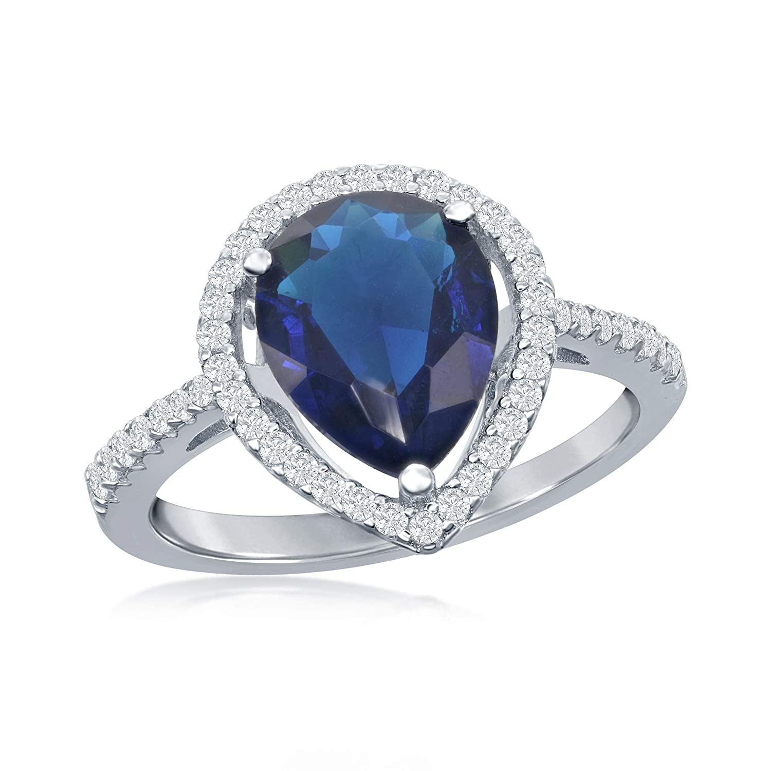 Sterling Silver Created Sapphire Cubic Zirconia Pearshaped Ring