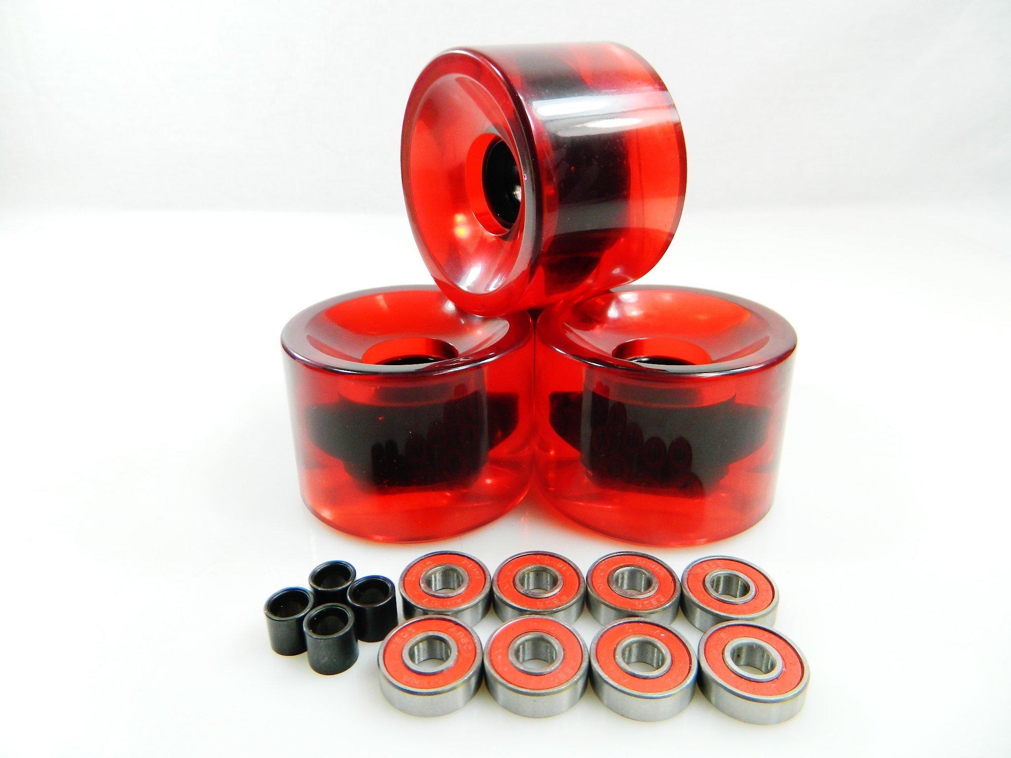 70mm Longboard Skateboard Wheels + ABEC 7 Bearings Spacers (Gel Red) by Blank Wheels
