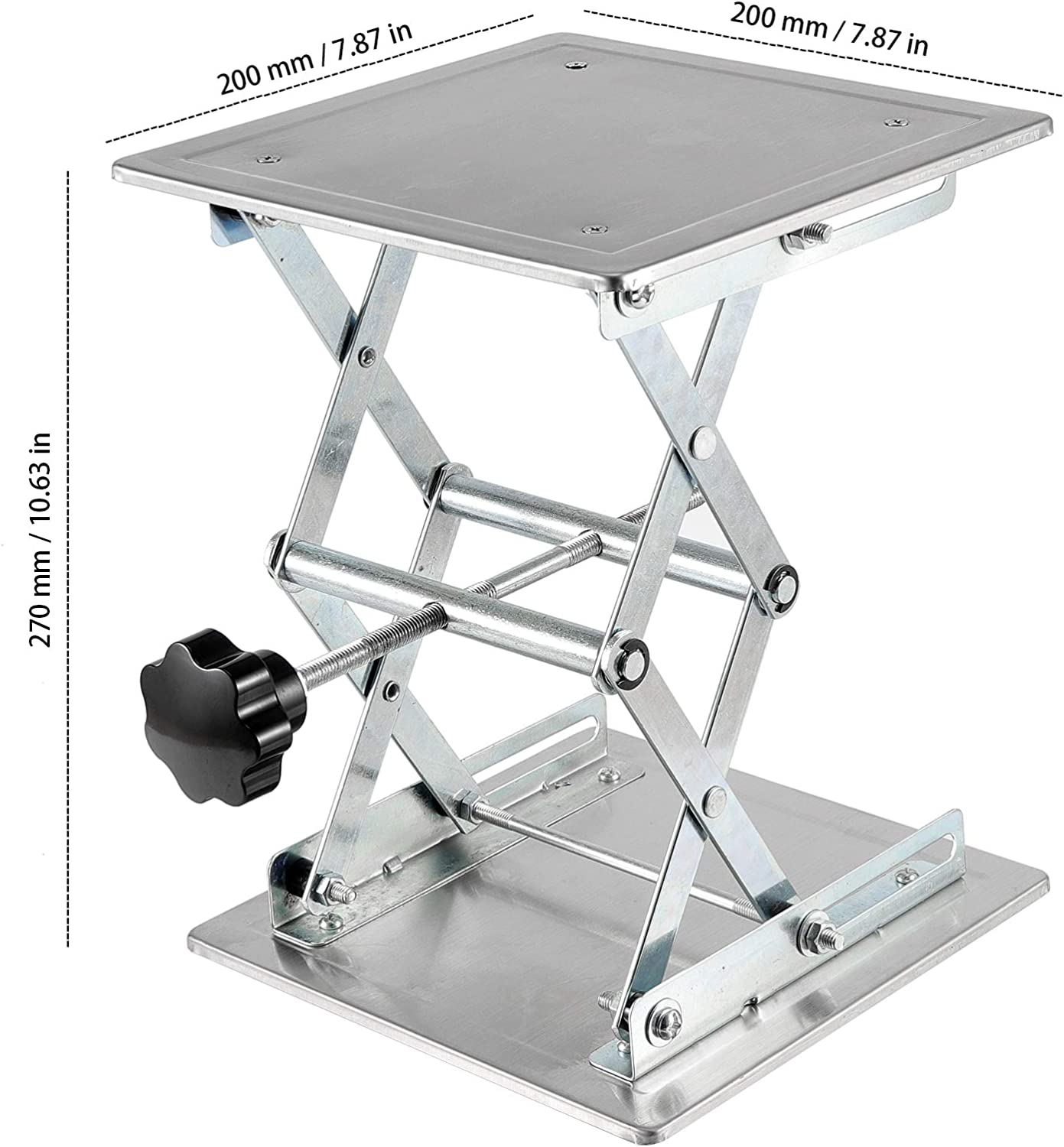 Lab Lift Stand Table Lifting Jack Platform Expandable Table Height Range from 85mm to 270mm ZEONHAK 2 PCS 8 x 8 Inches Laboratory Lift Stand Weight Limit 15kg Lab Jack Scissor Stand Platform