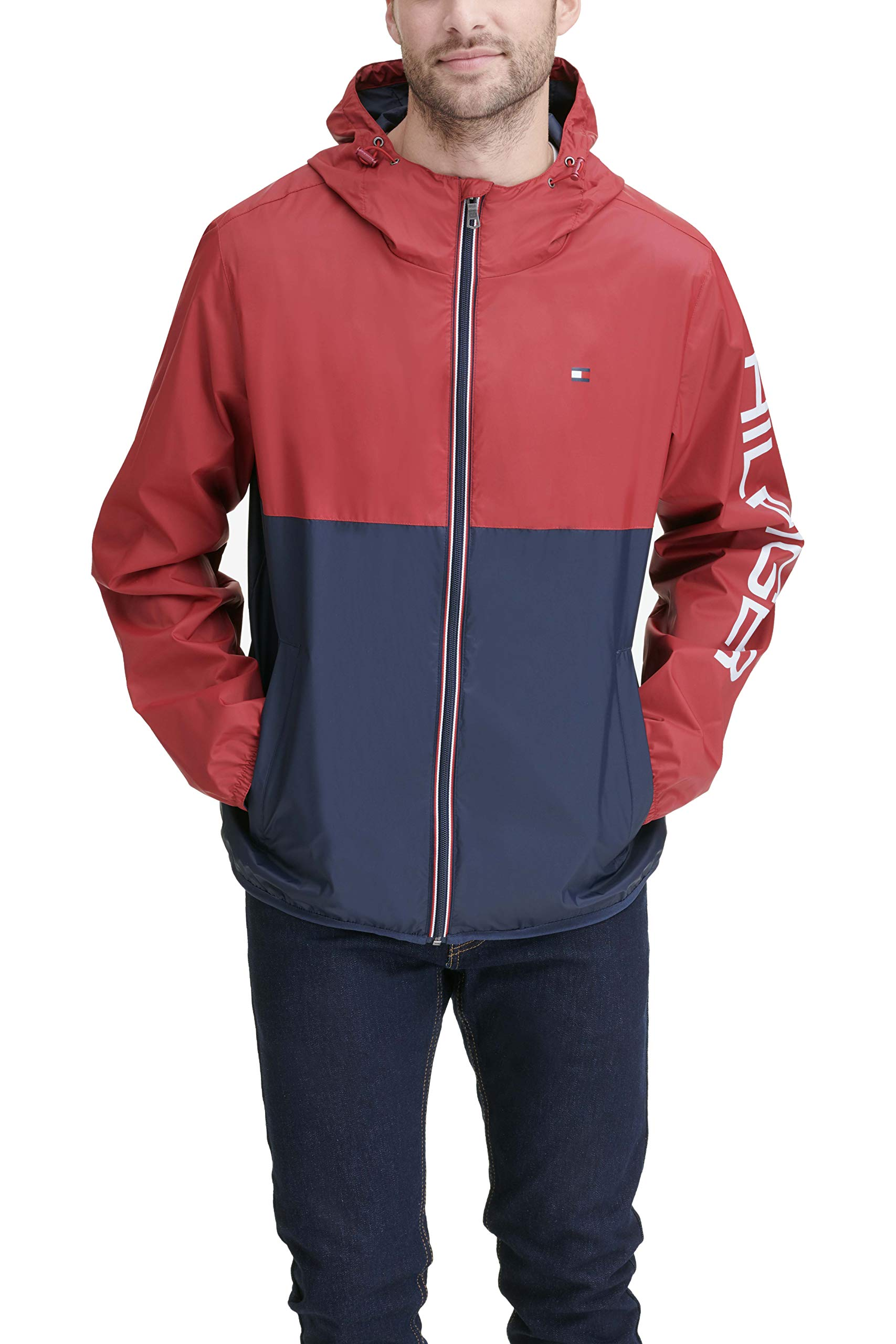 Tommy Hilfiger Men's Color Blocked Logo Rain Slicker Jacket, red/navy, MEDIUM by Tommy Hilfiger