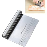 Pro Dough Pastry Scraper / Cutter / Chopper Stainless Steel Mirror Polished with Measuring Scale Multipurpose- Cake…