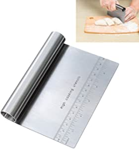 Pro Dough Pastry Scraper/Cutter / Chopper Stainless Steel Mirror Polished Good Grips with Measuring Scale Multipurpose- Cake, Pizza Cutter - Pastry Bread Separator Scale Knife