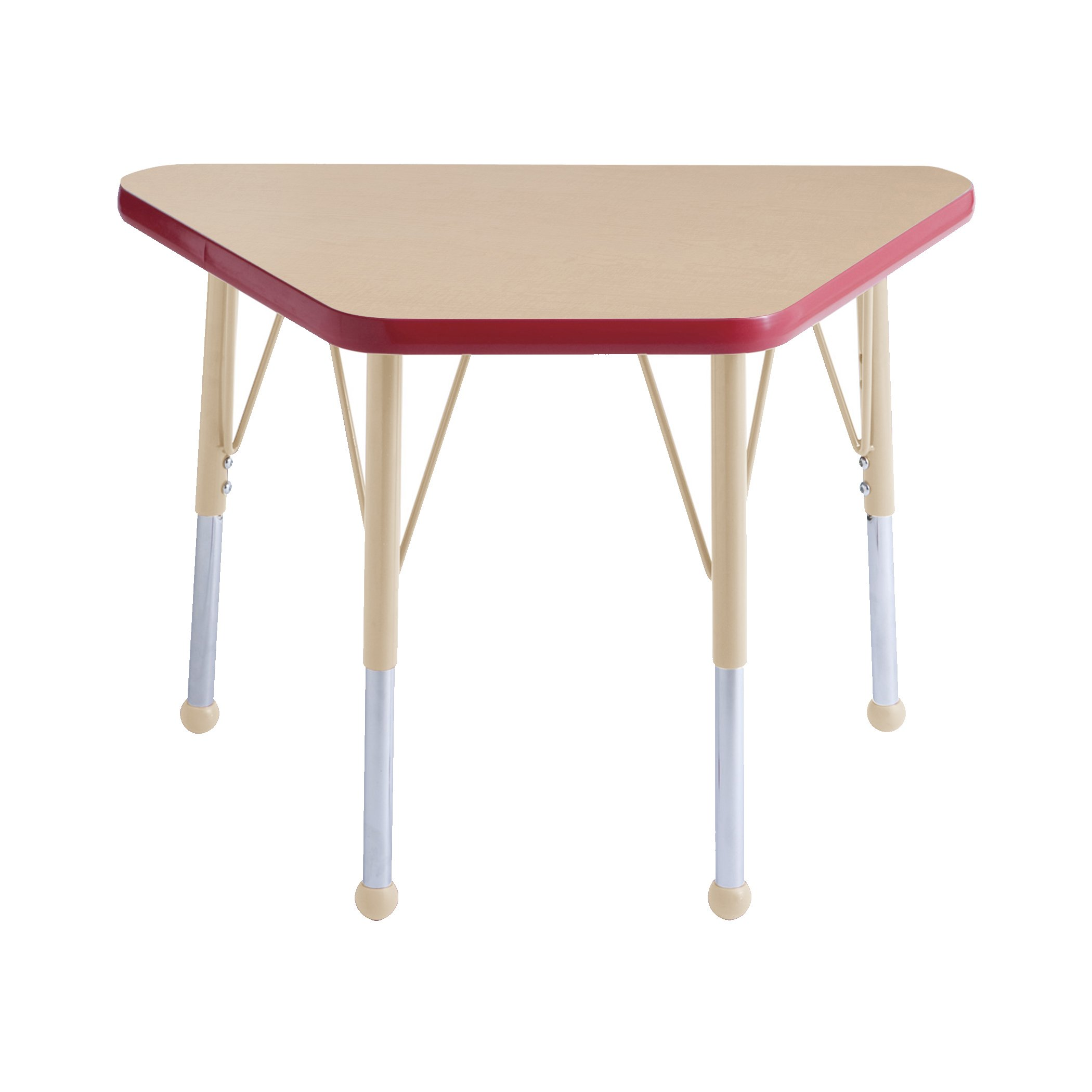 ECR4Kids Everyday T-Mold 18'' x 30'' Trapezoid Activity School Table, Standard Legs w/Ball Glides, Adjustable Height 19-30 inch (Maple/Red/Sand)