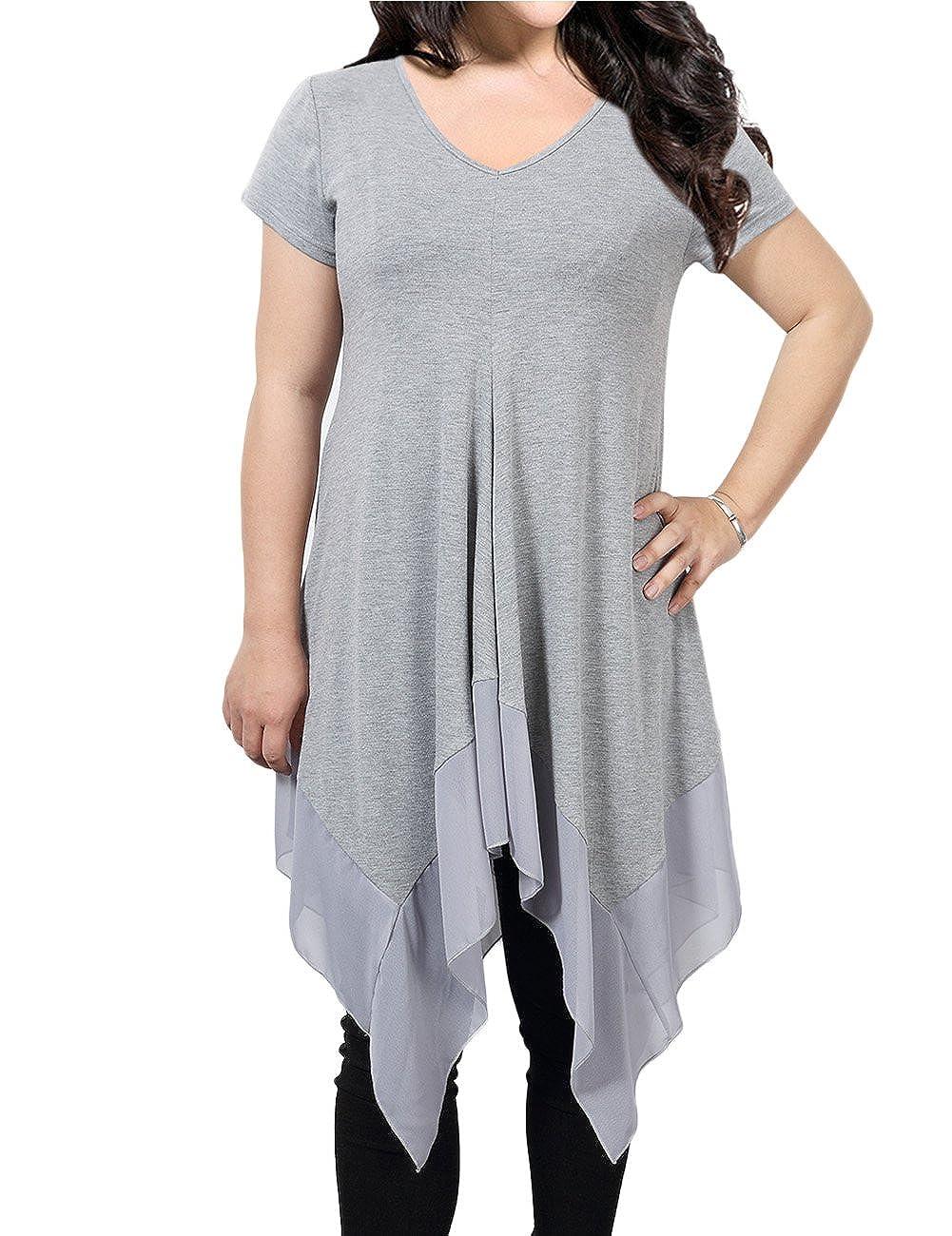 d3052076b08 Gprince Women Short Sleeve Loose Spliced Asymmetrical Plus Size Tunic Top  Short Dress Gray 4XL: Amazon.ca: Clothing & Accessories