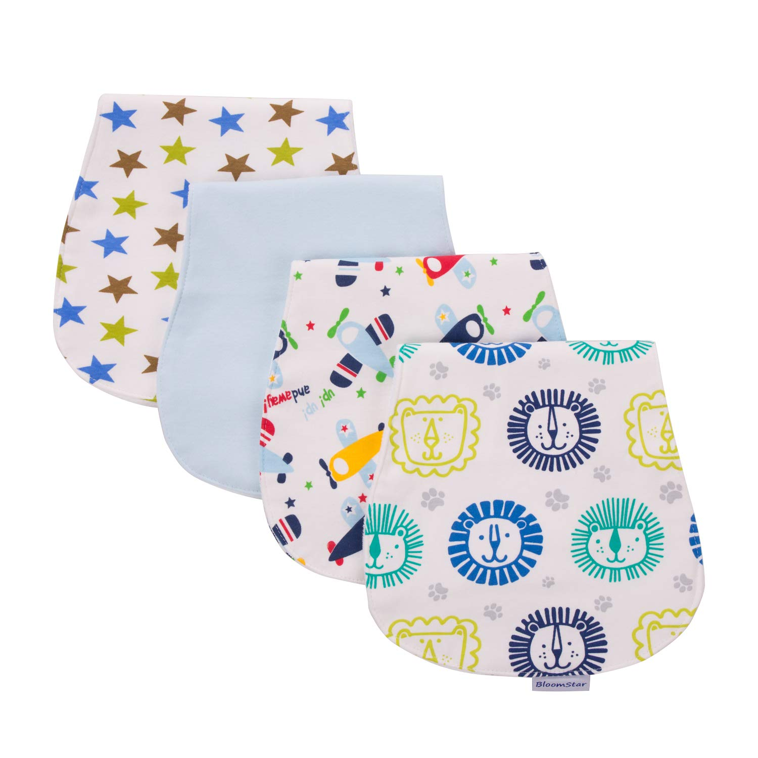 4 Pack Baby Burp Cloths, Triple Layer, Soft and Absorbent Towels Set, Burping Rags Baby Shower Gift Set Boys/Girls by BLOOMSTAR