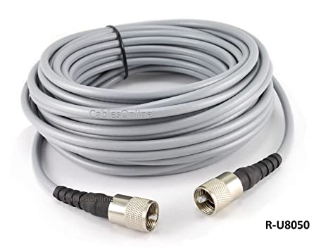 CablesOnline 50ft RG-8/U Mini Coax UHF PL-259 Male/Male