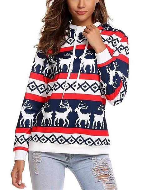 Sudaderas Navidad Mujer Otoño Invierno Sudaderas Reno Vintage Casuales Basic Reindeer Sudaderas con Capucha Impresión Moda Joven Sudadera con Capucha Hoodie ...