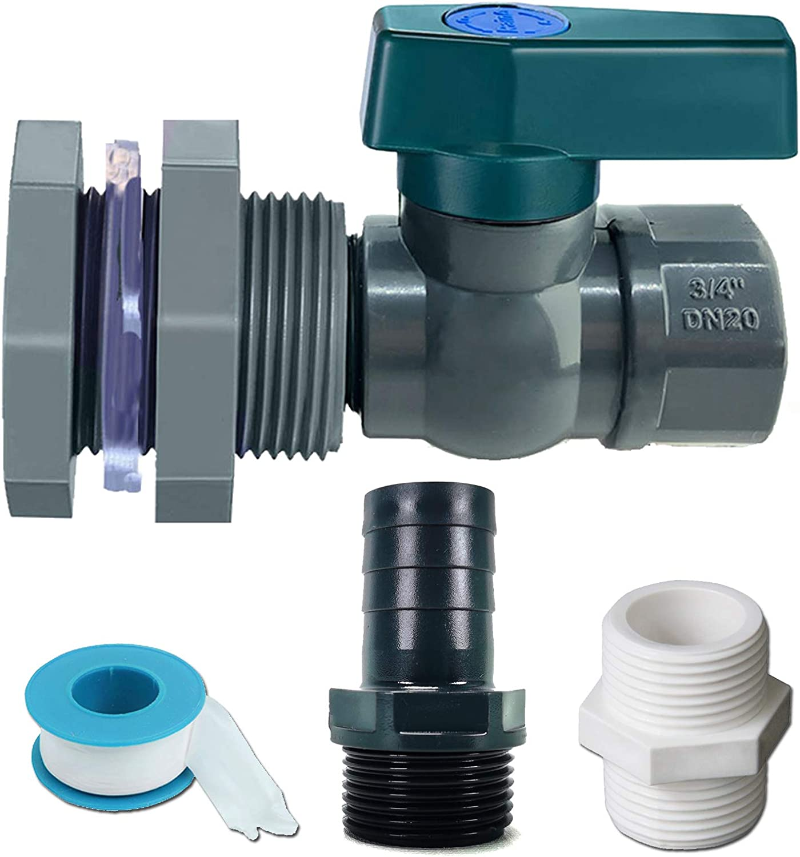 Yummiman Rain Barrel Spigot PVC Drain Valve Faucet with Bulkhead Fitting Garden Hose Adapter and Thread Seal Tape (3/4 inch)