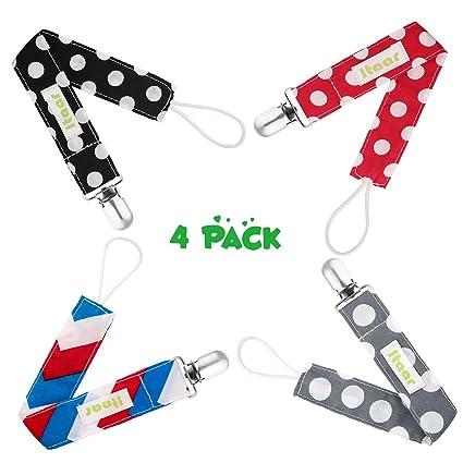 Itaar chupete clip 4 Pack Universal Algodón Correa chupete dentición Anillo soporte de lunares diseño de lunares y rayas diseño de bebé para niños y ...