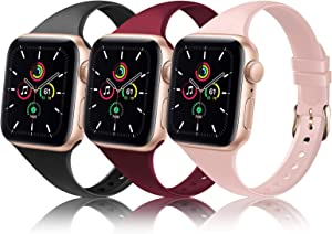 TSAAGAN Slim Silicone Band Compatible for Apple Watch Band 38mm 42mm 40mm 44mm, Sport Thin Soft Narrow Replacement Strap Wristband for iWatch Series 5/4/3/2/1 (Black/Sand Pink/Wine Red, 38mm/40mm)