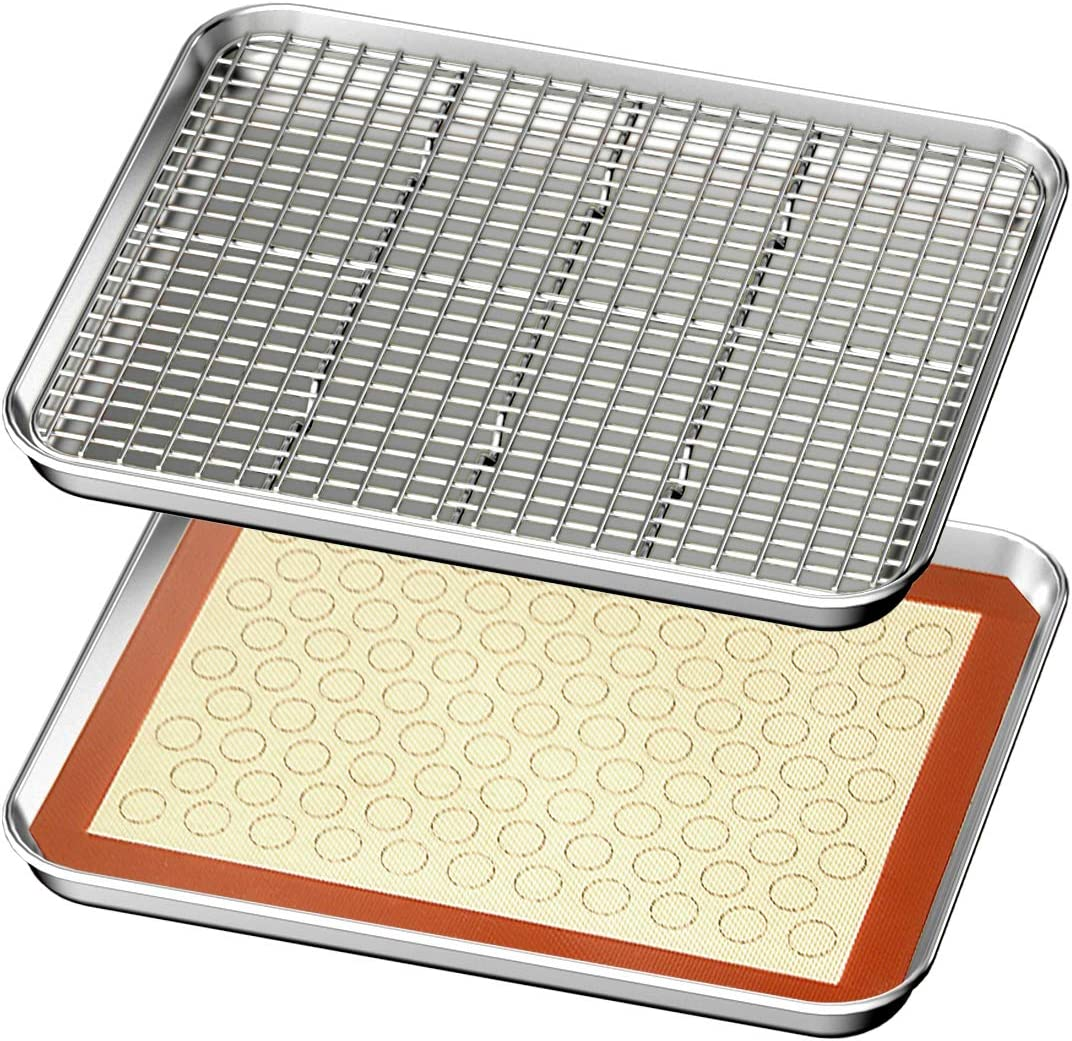 Baking Sheet with Rack & Mat Set of 4 HKJ Chef Stainless Steel Cookie Sheet Baking Pan Tray with Cooling Rack & Silicone Mat, Size 12.5 x 10 x 1 Inch, Non Toxic & Heavy Duty & Easy Clean