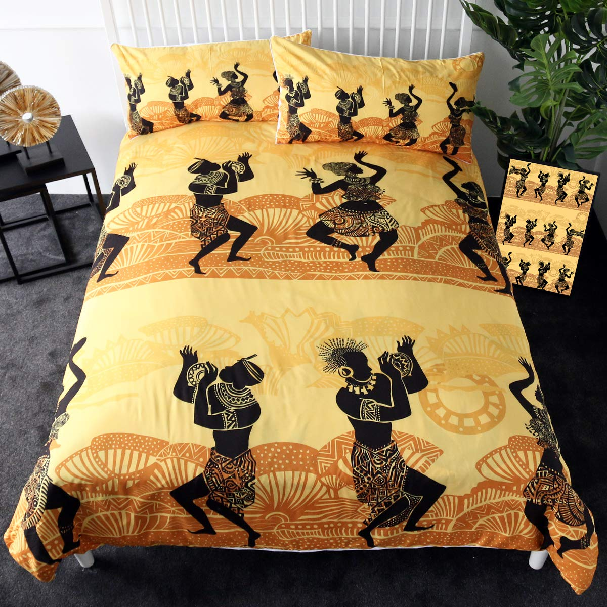 Sleepwish Carnival Bedding 3 Pieces Egypt Retro Duvet Cover Native Costumes  African Dance Celebration Themed Bed Set (Full)