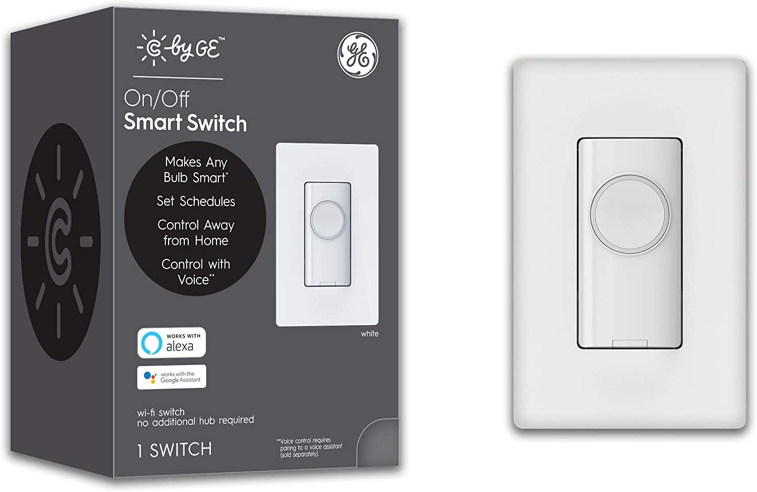 C by GE On/Off 4-Wire Button Style Smart Switch- Works with Alexa + Google Home Without Hub, Single-Pole/3-Way Replacement, White