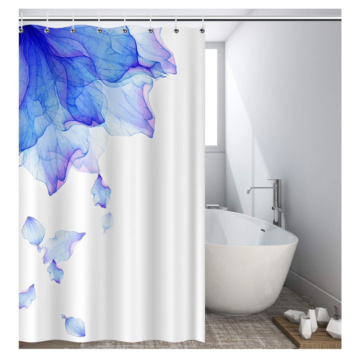 Vibesicily Shower Curtain, Durable Polyester Fabric Waterproof Bath Curtain for Bathroom Home Decor with 12 Hooks 71 x 71 Inch