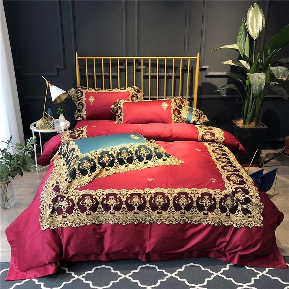 Nanle ヨーロッパの光の贅沢4ピース120馬の綿の寝具イタリア刺繍レースモデルルーム100%綿4ピースのセット (色 : Red, サイズ さいず : 220x240cm(87x94inch)) B07MMBNVKY Red 220x240cm(87x94inch)