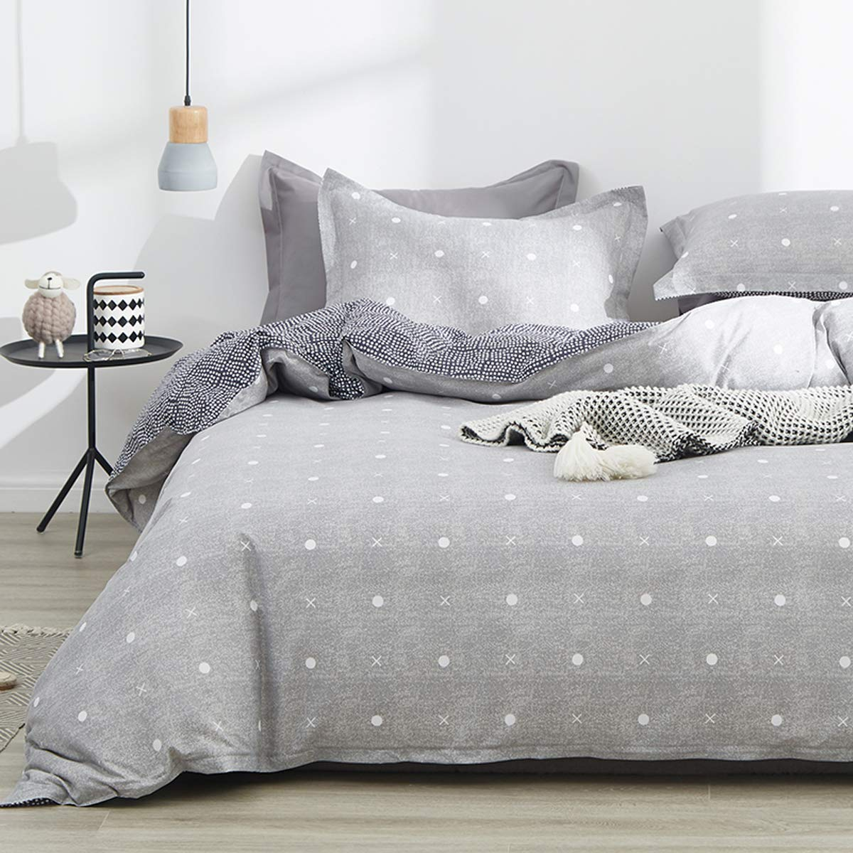 Uozzi Bedding 3 Piece Gray Duvet Cover Set Queen (1 Duvet Cover + 2 Pillow Shams) with Dots and Cross Hypoallergenic, Zipper Closure, 4 Corner Ties, Comforter Cover Christmas or New Year Gift Choice by Uozzi Bedding