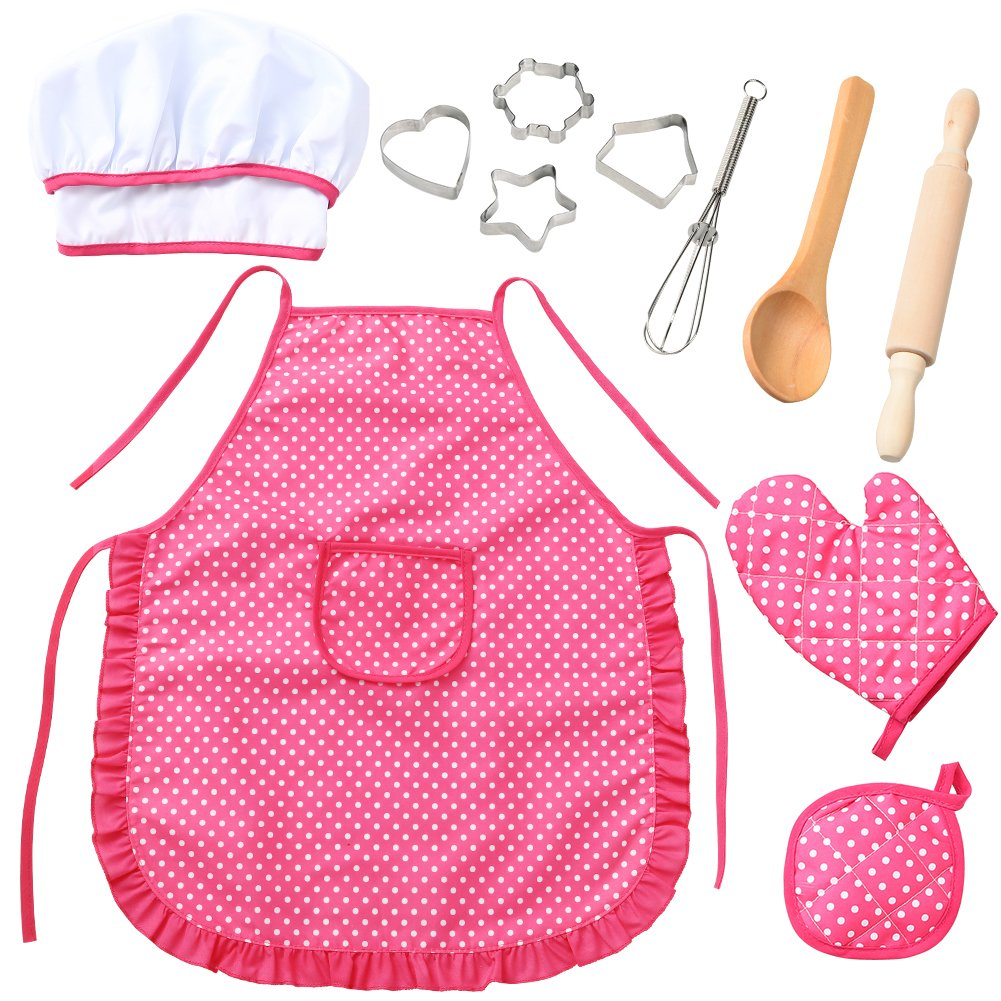 ThinkMax Chef Set for Kids, 11pcs Cooking & Baking Apron Set Toddler Play Kitchen Dress Up for Kids Chef Costume Roleplay & Learning Practical Life Skills