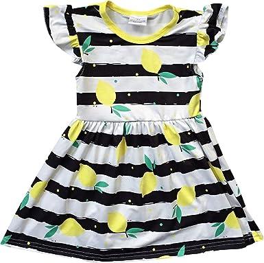 f0110a33d24 Toddler Girl Kids Lemon Stripe School Holiday Birthday Party Girl Dress  Black 2T XS 501276