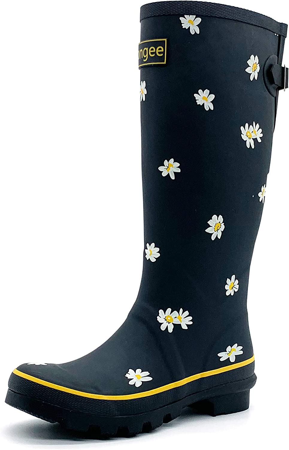 Rongee Women's Tall Rubber Rain Boots Daisy Printed with Adjustable Buckle