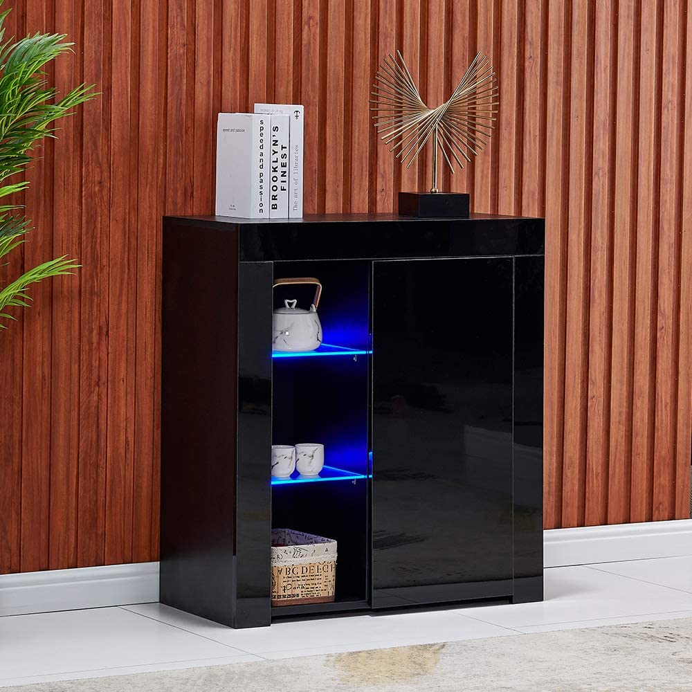 White Black LED High Gloss Sideboards Cabinets /& Cupboards with Storage Shelf