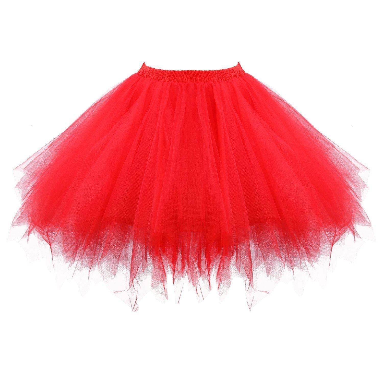 Women's Short Puffy Red Tutu Petticoat