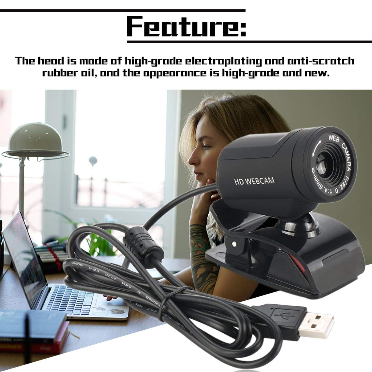 A7220D Webcam HD Web Computer Camera Built-in Microphone for Desktop PC Laptop USB Plug and Play for Video Calling