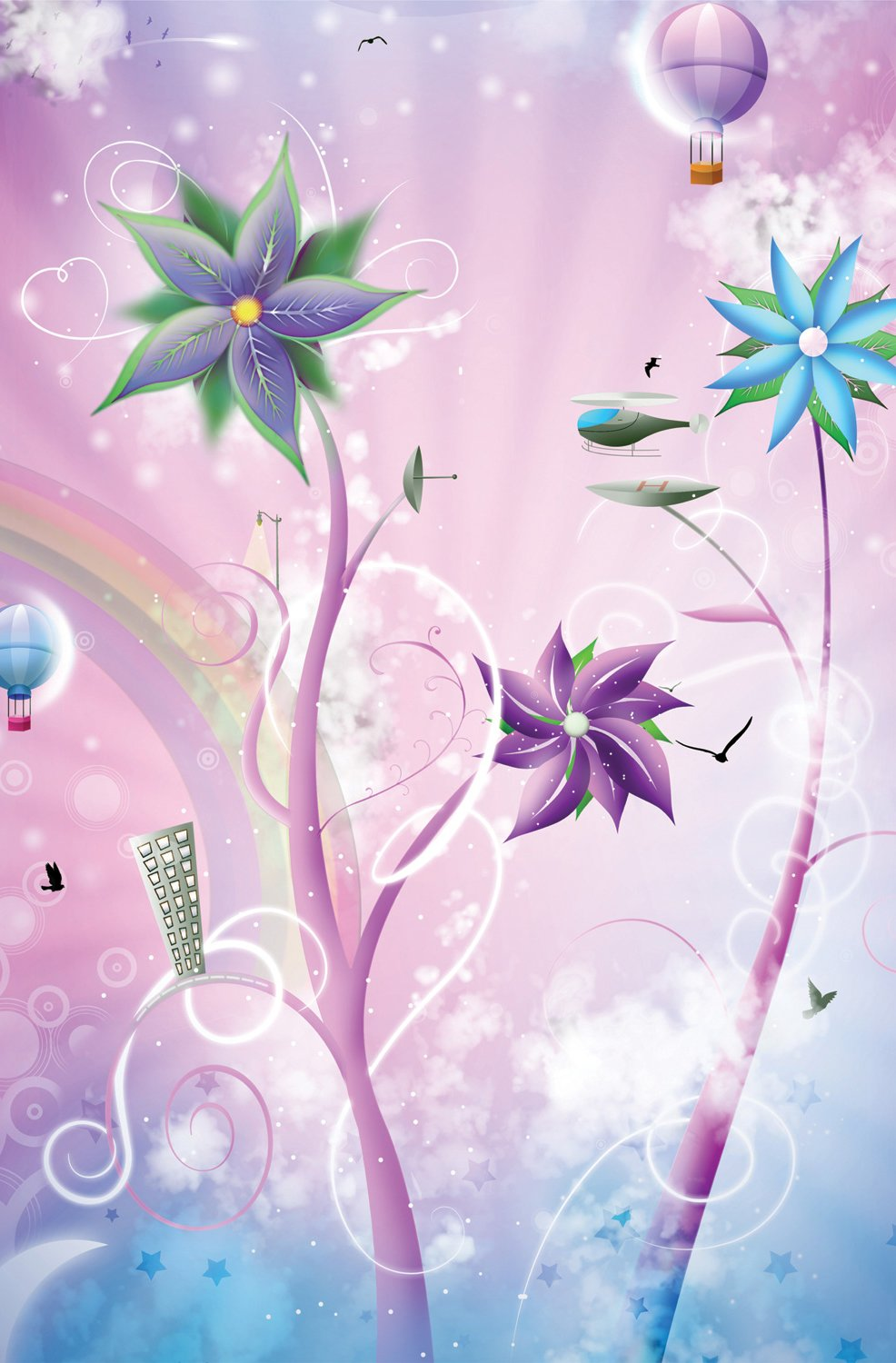 JP London SPMURLT0056 Prepasted Removable Wall Mural Banff Thneedville The Lorax Seuss Flowers at 2 Wide by 3 High