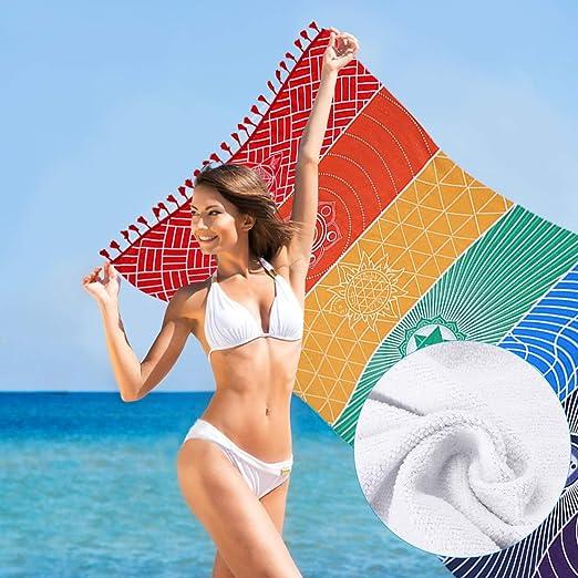 Jeteven Regenbogen Strandtuch boho Yoga 7 Chakras Teppich Handtuch Tapisserie Badetuch Zigeuner Sonnenschutz Schal 150 75cm bunt B