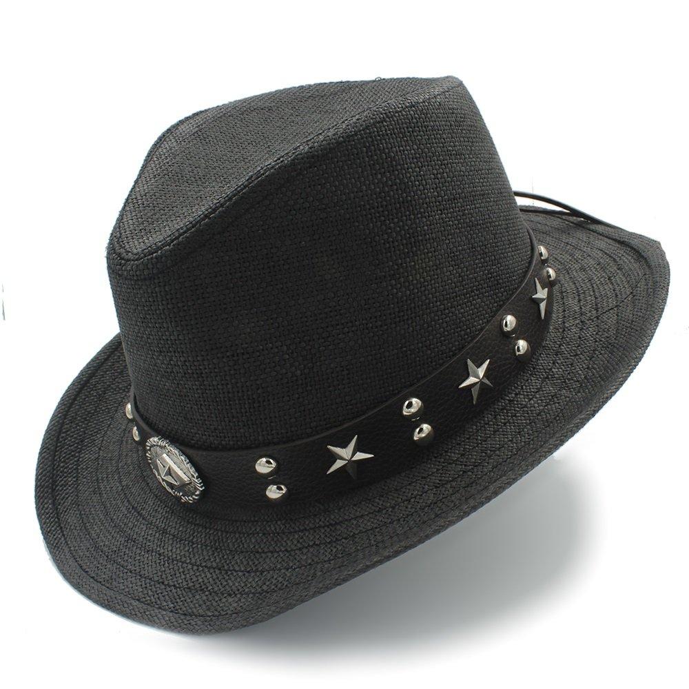 HYF Cappello da Cowboy da Cowboy Sombrero in Paglia con Poncho da Cowboy (Colore : Beige, Dimensione : 58 Centimetri)