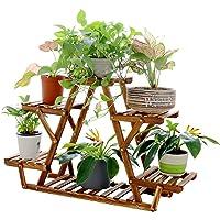 Wooden Plant Stand 6 Tier Flower Pots Display Shelf Wood Plant Corner Rack Indoor Outdoor for Bonsai Plants Succulents…