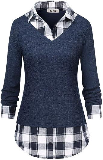 Blusa Casual A Cuadros De Mujer Camisa Elegante De Solapa Manga Vintage De Larga Camisa Clásica De Época Blusas Tops Mujeres: Amazon.es: Ropa y accesorios