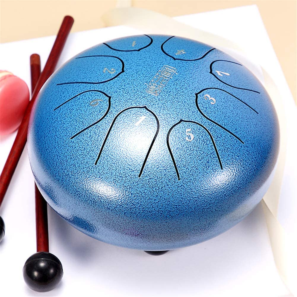 Steel Tongue Drum 8 Notes 6 inches C5 Key Chakra Tank Drum Percussion Instrument Mini 10-Tone Hand Pan Drum for Children Musical Education,Come with Drum Mallets,Drum Finger Picks,Carry Bag,Blue