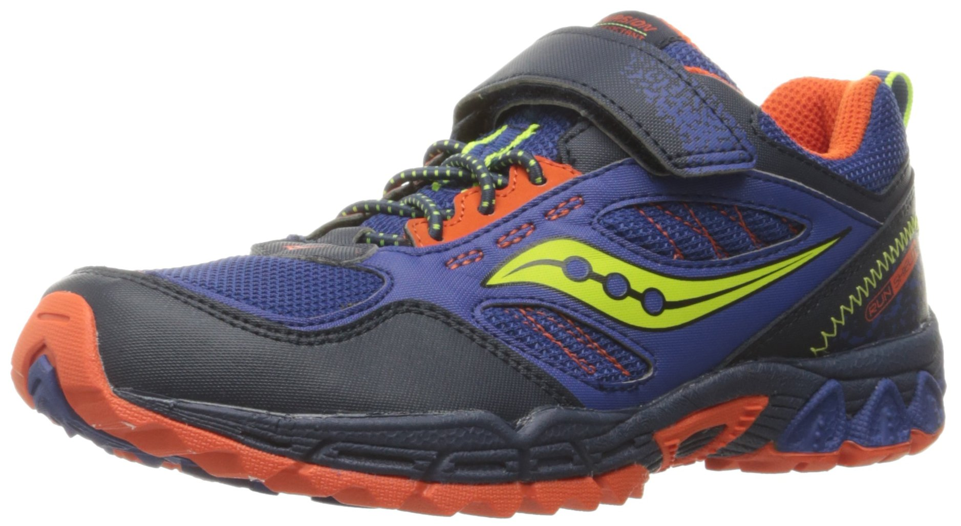 Saucony Excursion Shield Alternative Closure Sneaker (Little Kid), Blue/Citron/Orange, 1.5 M US Little Kid