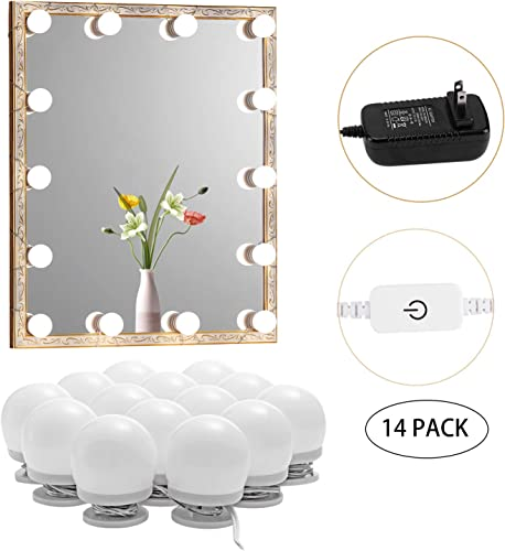 AIBOO Hollywood Style Natural Light Bulbs Makeup Dressing Room Light Fixture, Stick on Vanity Mirror Strip Lights with Dimmer and Plug in Adapter, 14 Bulbs Mirror Not Included