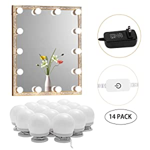 AIBOO Hollywood Style Natural Light Bulbs Makeup Dressing Room Light Fixture, Stick on Vanity Mirror Strip Lights with Dimmer and Plug in Adapter, 14 Bulbs (Mirror Not Included)