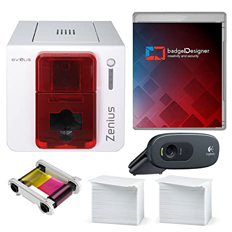 Amazon evolis zenius single sided id card printer complete evolis zenius single sided id card printer complete supplies package with silver edition badgedesigner id stopboris Choice Image