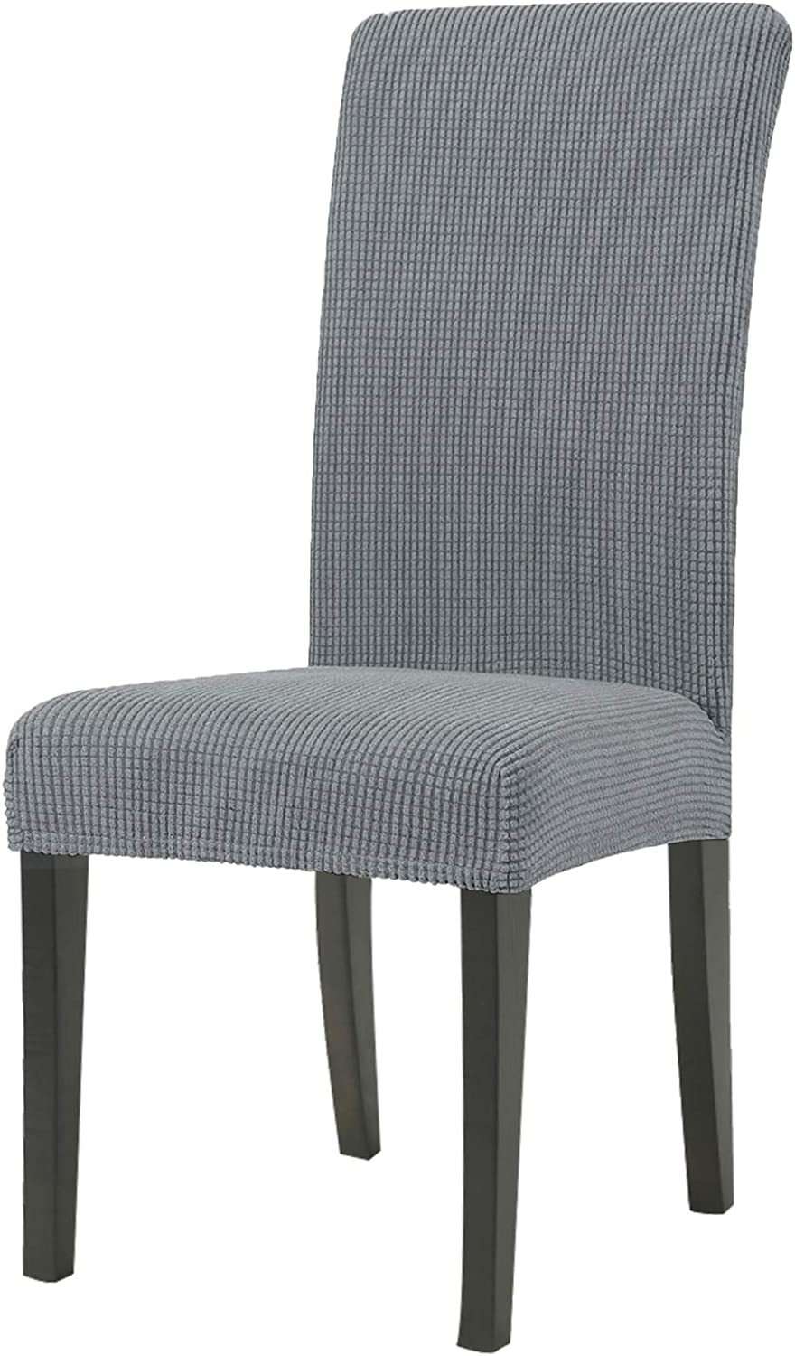 JIVINER Thick Stretchy Dining Chair Slipcover Set Washable Jacquard Parsons Chair Covers Removable Kitchen Chair Furniture Protector for Dining Room, Hotel, Party (4, Light Gray)