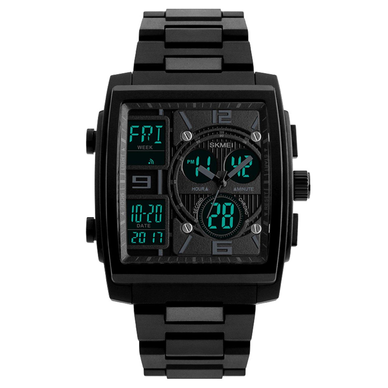 Men's Sport Watch Digital Military Wrist Watch Square Analog Quartz Watches Electronic Black Watch