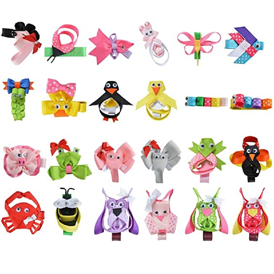 Amazon Com 24pcs 2 2 5 Cute Tiny Hair Bows For Girls Bb Hairpin