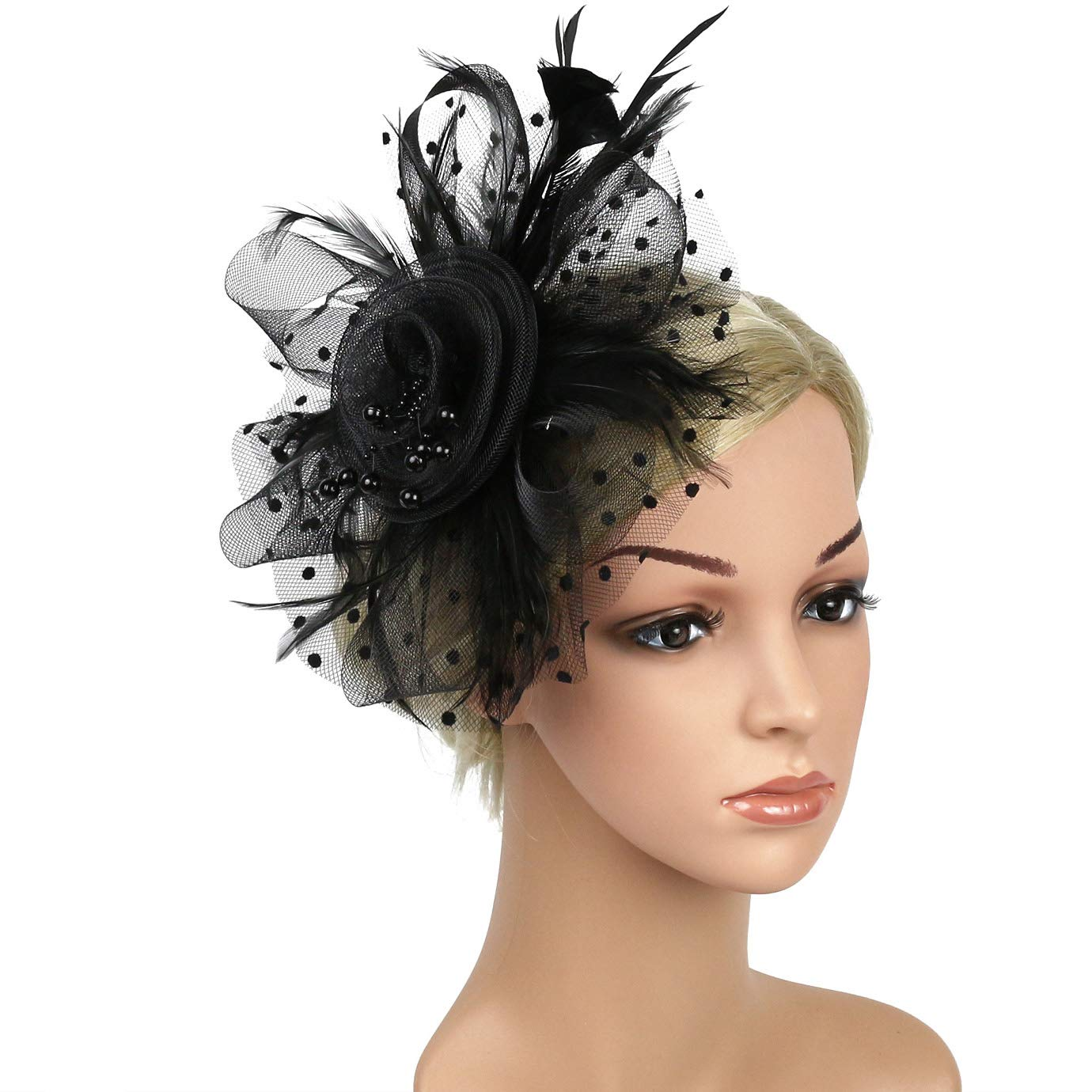Xflyee Fascinators Hat Flower Mesh Ribbons Feathers Tea Party Cocktail Headband for Girls and Women (Black / 7 Inch Diameter)