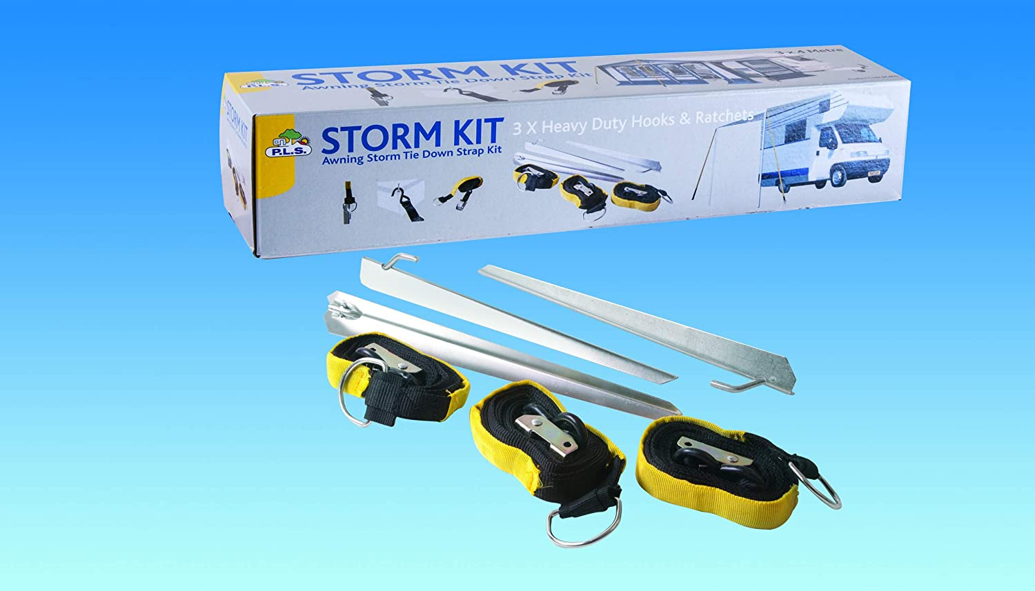 3 STRAPS BITS4REASONS PENNINE LEISURE NEW MODEL BG400 STORM KIT AWNING TIE DOWN STRAP KIT