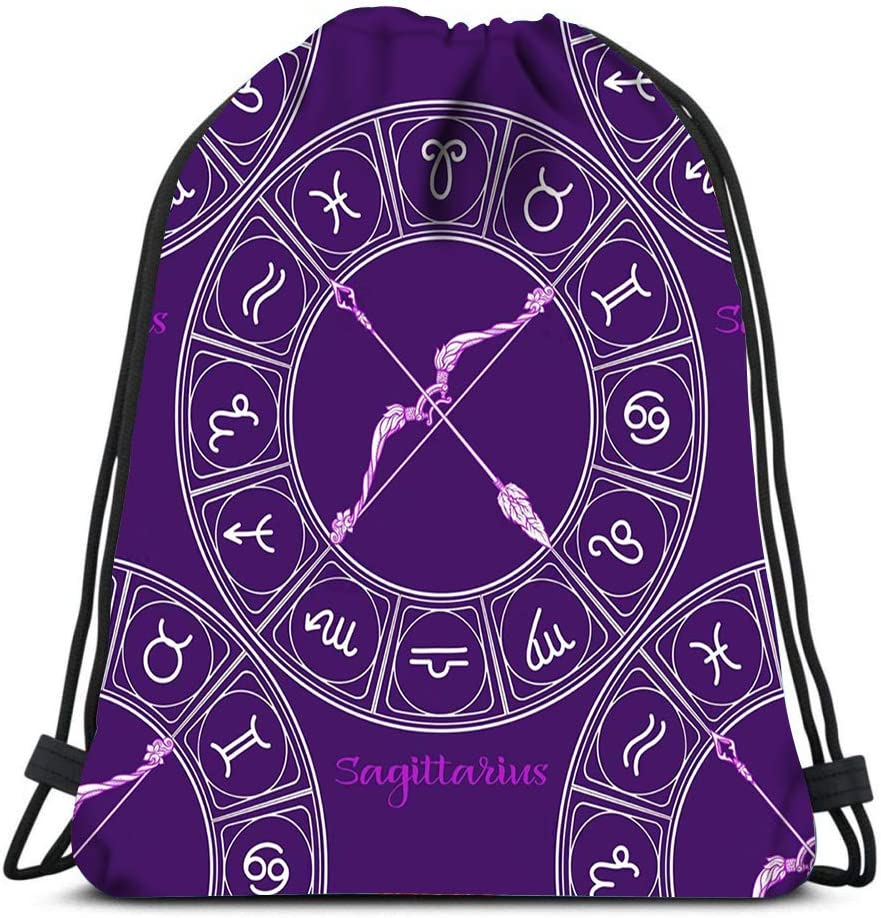 Drawstring Backpack Symbols Horoscope Signs The Zodiac Laundry Bag Gym Yoga Bag