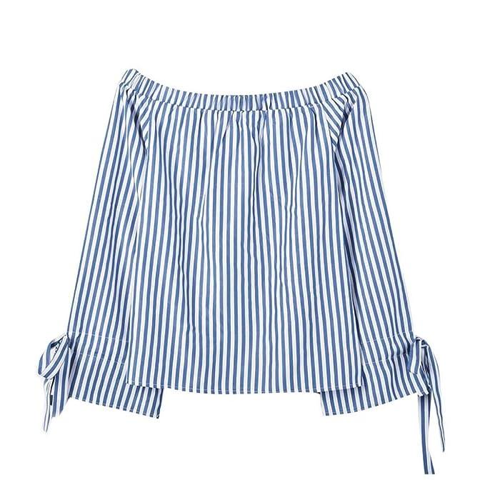 Blusas Mujer, ASHOP Casual Raya Fuera del Hombro Talla Extra Sudaderas Ropa en Oferta Camisetas