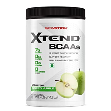 Scivation Xtend BCAAs (Pre-Workout, 7g BCAAs, 0g Carbs,Sugar & Calories, 3.5 Leucine, 2.5g L-Glutamine, 1g Citrulline Malate) - 402 g, 30 Servings (Green Apple) BCAAs at amazon