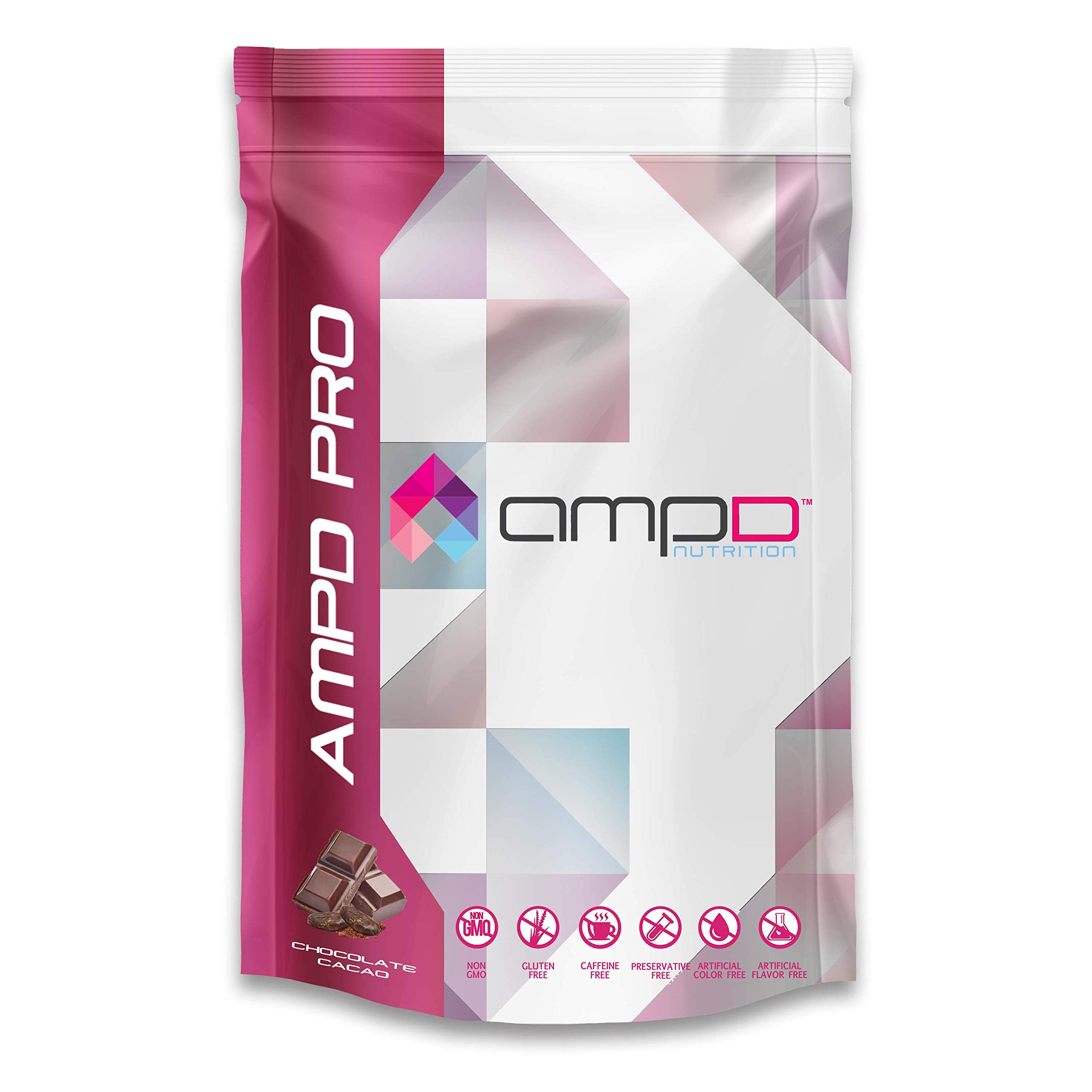 AMPD Pro (810 Grams - 30 Servings) Chocolate Cacao - 20g Plant Based Protein Powder from Pea, Rice, Chia - Vegan Friendly, 3g Fiber, Omega-3's, Multi-Vitamin Plus Biotin ...